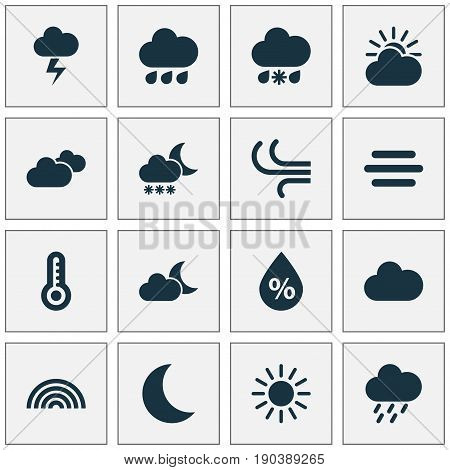 Air Icons Set. Collection Of Breeze, Colors, Moonlight And Other Elements. Also Includes Symbols Such As Drop, Crescent, Douche.