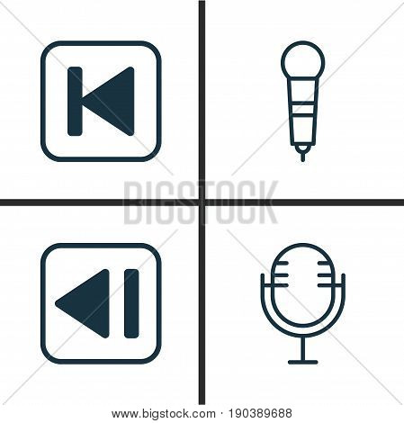 Music Icons Set. Collection Of Last Song, Run Song Back, Mike And Other Elements. Also Includes Symbols Such As Microphone, Backward, Audio.