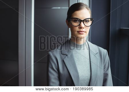 Portrait of counselor in glasses at office
