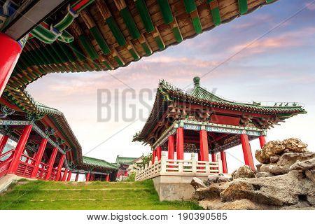 Tengwang Pavilion Nanchang traditional ancient Chinese architecture made of wood.