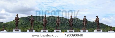 Ratchapak Park, Hua Hin, Thailand. - OCTOBER 11, 2015 : Great Giant 7 King Statues Hua Hin Thailand.