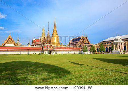 Wat Phra Kaew, Temple of the Emerald Buddha locate in the Bangkok, Thailand.