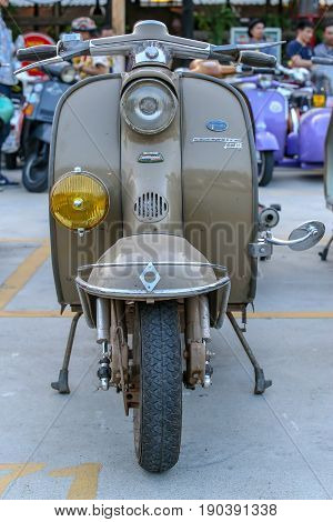 Bangkok, Thailand - 23 January 2016 : The classic vespa vintage scooter motorcycle.