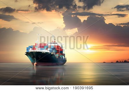 International Container Cargo ship in the ocean as sunset sky Freight Transportation Shipping