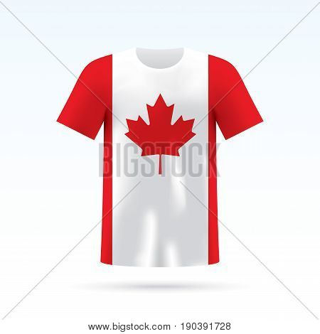Canada flag printed on a T-shirt. Vector shirt template, isoalted on a white background.