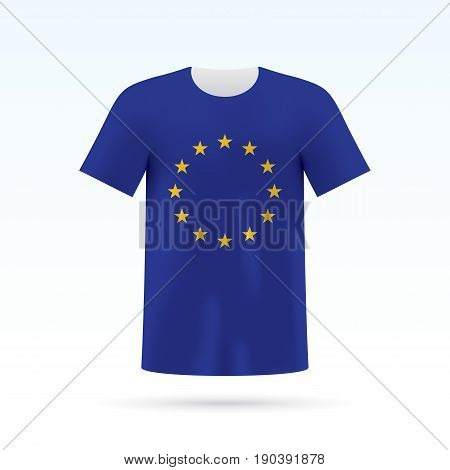 European union flag printed on a T-shirt. Vector shirt template, isoalted on a white background.