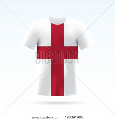 England flag printed on a T-shirt. Vector shirt template, isoalted on a white background.
