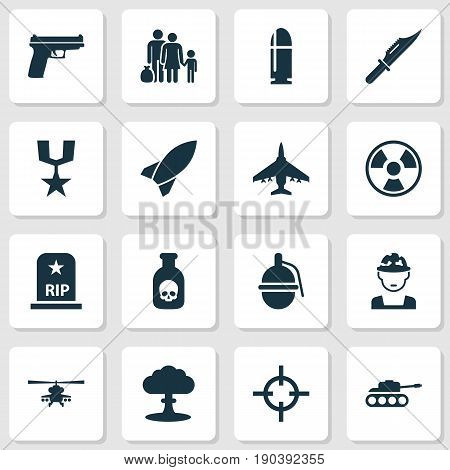 Warfare Icons Set. Collection Of Cutter, Chopper, Dangerous And Other Elements. Also Includes Symbols Such As Tank, Gong, Danger.