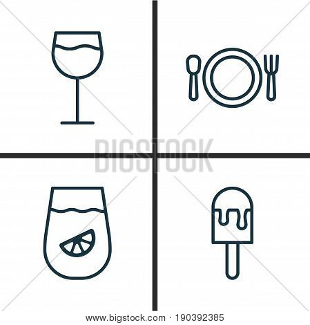 Eating Icons Set. Collection Of Lolly, Cutlery, Wineglass And Other Elements. Also Includes Symbols Such As Lolly, Drink, Plate.