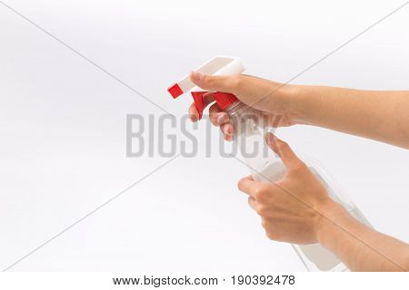 Female Hands On A White Background With A Nebulizer