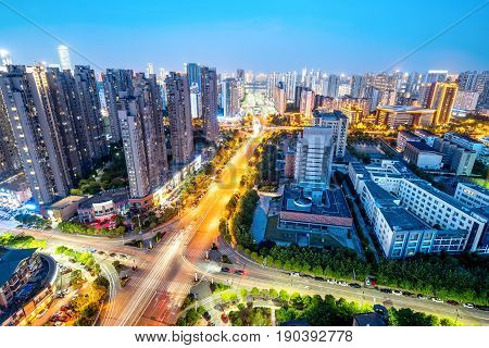 Aerial view of the city night China Nanchang.