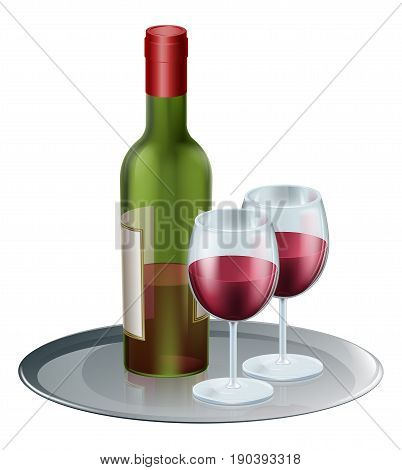 Red wine bottle and wine glasses on a silver tray or platter