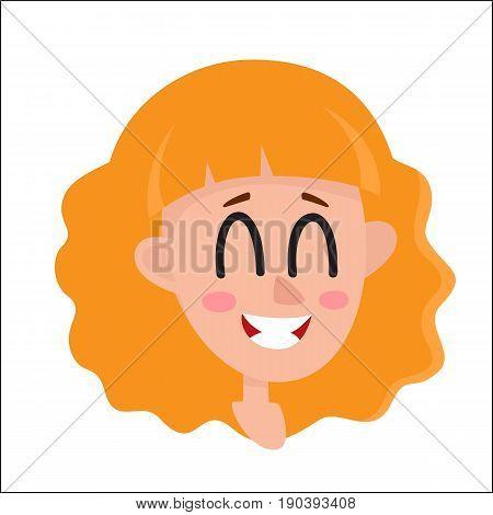 Pretty blonde hair woman, laughing facial expression, cartoon vector illustrations isolated on white background. Beautiful woman laughing out load with closed eyes and open mouth. Laughing face