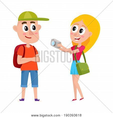 Couple of tourists, man and woman, with backpacks on vacation tour, making photo, cartoon vector illustration isolated on white background. Boy and girl tourists travelling, making photo, sightseeing