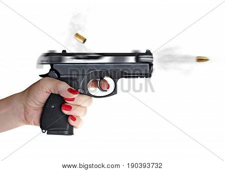 woman with hand gun pistol rubber attack violence