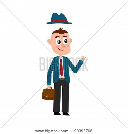 Funny businessman in business suit and removable hat, holding briefcase, showing okay sign, cartoon vector illustration on white background. Funny cartoon businessman with briefcase and removable hat