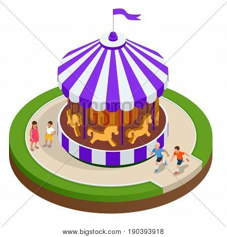 Isometric Childrens carousel with horses isolated. Vector illustration. Colorful children s carousel
