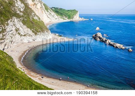 beautiful hidden beach on the Jurassic Coast of Dorset, UK - Britiish summer holiday destination