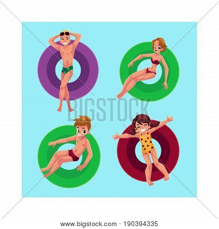 People, man, woman, boy, girl floating on inflatable rings in swimming pool, top view cartoon vector illustration. Kids and adults swimming on inflatable rings in pool, enjoying summer season