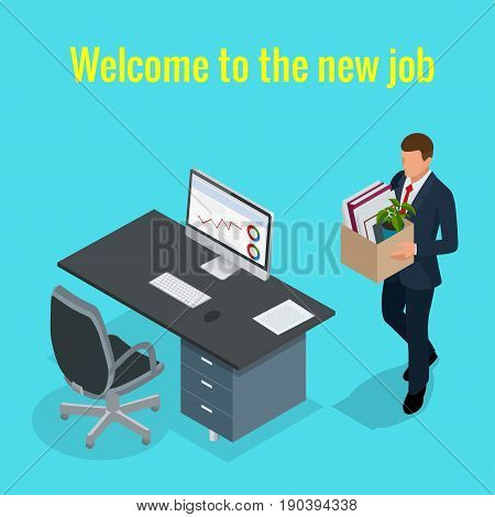 New Job concept. People Isometric vector 3D office workers and subordinates isolated. Man going to the new job with box. Welcome to the new job business concept