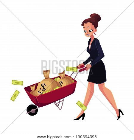 Happy woman, girl, businesswoman pushing wheelbarrow full of money bags, cartoon vector illustration isolated on white background. Businesswoman, woman, girl pushing wheelbarrow with money bags
