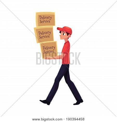 Young courier, delivery service worker carrying pile of boxes, packages, cartoon vector illustration isolated on white background. Full length portrait of delivery service man with pile of boxes