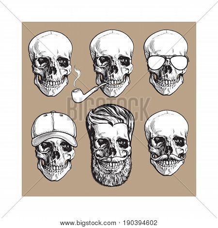 Set of human skull bones with sunglasses, beard, moustache, smoking pipe, sketch vector illustration isolated on brown background. Hand drawn skull with smoking pipe, cap, hipster beard, sunglasses