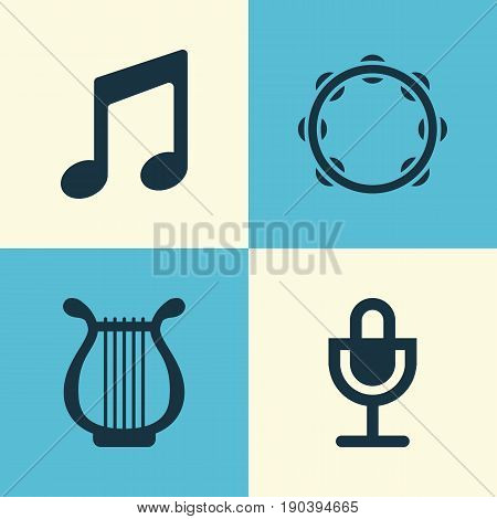 Multimedia Icons Set. Collection Of Lyre, Mike, Music And Other Elements. Also Includes Symbols Such As Tambourine, Lyre, Harp.