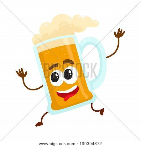 Funny beer glass mug character with smiling human face running, hurrying, cartoon vector illustration isolated on white background. Cute and funny running lager beer mug character, mascot
