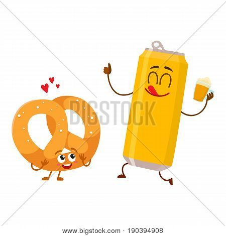 Happy aluminium beer can and salty pretzel characters having fun together, cartoon vector illustration isolated on white background. Funny smiling beer can and pretzel characters, go well together