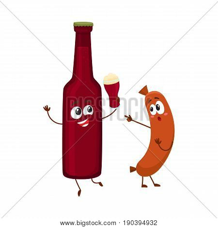 Funny beer bottle and frankfurter sausage characters having fun together, cartoon vector illustration isolated on white background. Funny smiling beer bottle making toast and sausage poiting to it