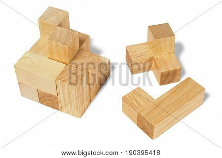 Wooden logic puzzle isolated on white background
