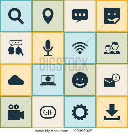 Internet Icons Set. Collection Of Camcorder, Inbox, Conversation And Other Elements. Also Includes Symbols Such As Laptop, Technology, Clouded.