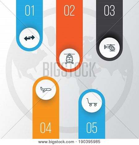 Vehicle Icons Set. Collection Of Chopper, Flight Vehicle, Air Transport And Other Elements. Also Includes Symbols Such As Aircraft, Aviation, Cart.
