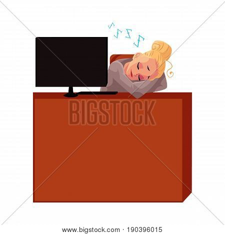 Young pretty blond businesswoman, secretary, sleeping, snoozing at office desk, cartoon vector illustration isolated on white background. Businesswoman, secretary, office manager snoozing at computer