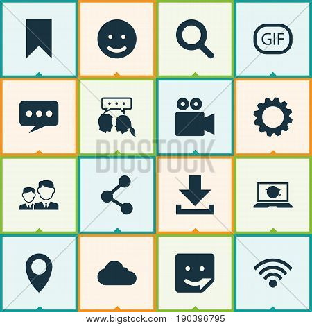 Media Icons Set. Collection Of Camcorder, Publish, Down Arrow And Other Elements. Also Includes Symbols Such As Pennant, Social, Wifi.