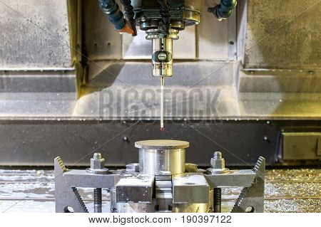 Industrial metal chuck die/mold sensoring. Metalworking and mechanical engineering. Lathe milling and drilling technology. CNC industry. Indoors horizontal image.