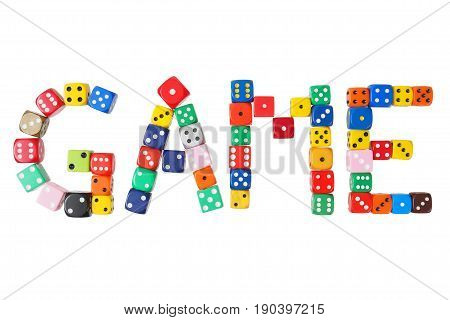 Word GAME formed with dice isolated on white background
