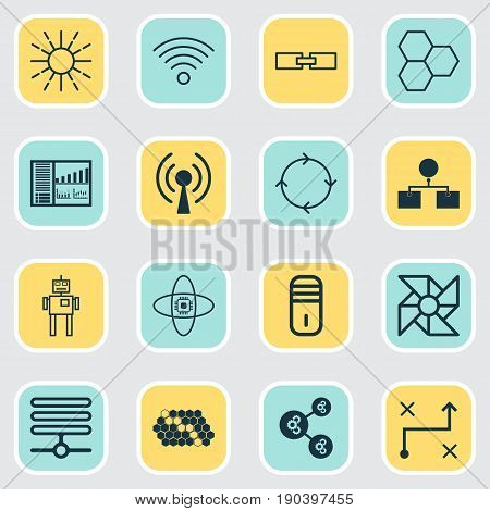 Icons Set. Collection Of Algorithm Illustration, Hive Pattern, Laptop Ventilator And Other Elements. Also Includes Symbols Such As Cycle, Toy, Wireless.