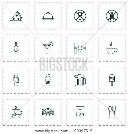 Icons Set. Collection Of Cocktail, No Drinking, Hooch And Other Elements. Also Includes Symbols Such As Tea, Chair, Cocktail.