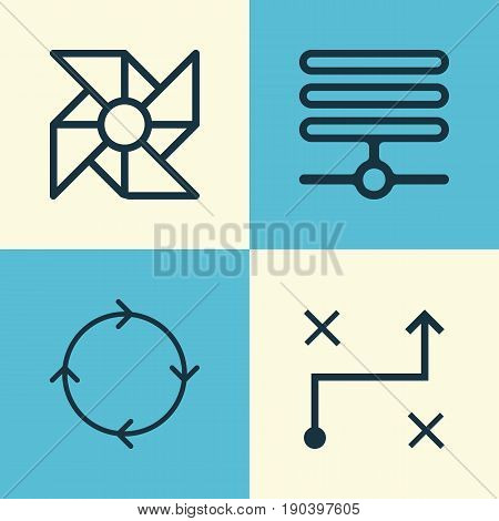 Machine Icons Set. Collection Of Information Base, Recurring Program, Laptop Ventilator And Other Elements. Also Includes Symbols Such As Information, Loop, Data.