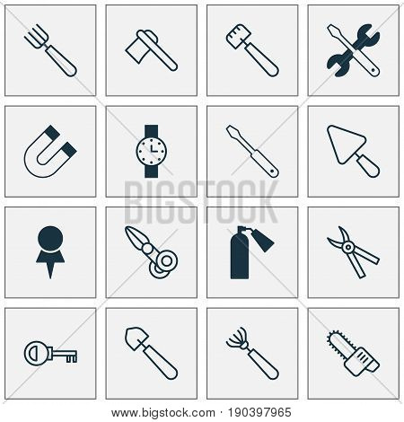 Equipment Icons Set. Collection Of Clippers, Turn Screw, Screwdriver With Wrench And Other Elements. Also Includes Symbols Such As Clippers, Pruning, Wrench.