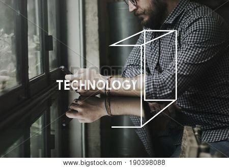 Adult Man Using Mobile Technology Invention Graphic