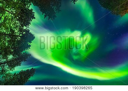 Beautiful green Nothern lights view over Lapland
