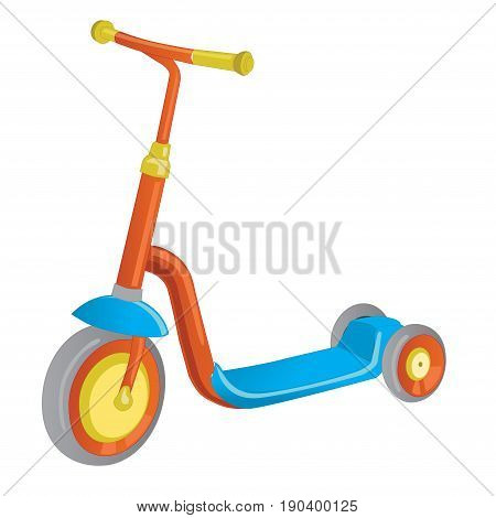 Vector roller scooter. Balance bike. Cartoon cute color kick scooter for design or web pages posters. Push scooter isolated on white. Eco transport for kids