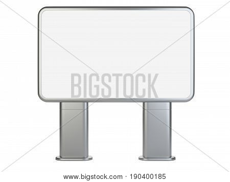 Vertical big blank outdoor stand banner. Lightbox front wiew. 3d Illustration isolated on a white background.