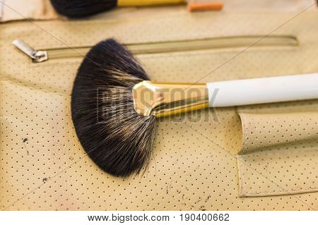 make up set, soft makeup brushes on the table