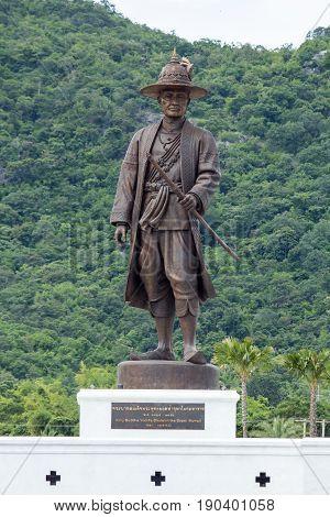 Ratchapak Park, Hua Hin, Prachuap Khiri Khan, Thailand. - OCTOBER 11, 2015 : King Rama 1 Phra Phutthayotfa Chulalok (Rattanakosin)