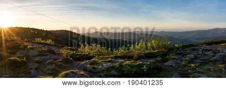 French countryside. Sunrise in the Vosges (Gazon du Faing) with a view of the Rhine valley and the Black Forest (Germany) in the background.