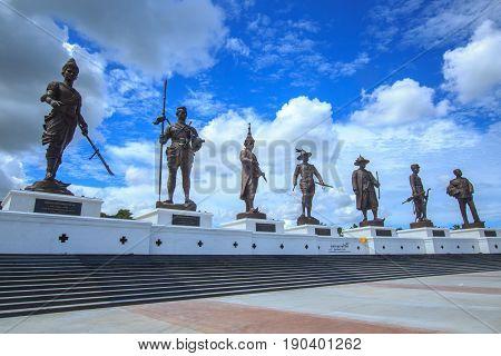 RATCHAPAK PARK, HUA HIN ,THAILAND-OCTOBER 11,2015 :Great Giant 7 King Statues at Ratchapak Park, Hua Hin, Thailand.